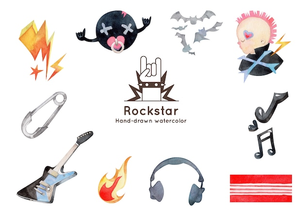 Illustration aquarelle dessinée à la main des éléments de rock and roll