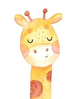 Illustration aquarelle dessinée à la main avec une jolie girafe