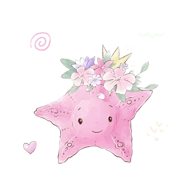 Illustration aquarelle d'une étoile de mer dessin animé mignon avec des fleurs délicates