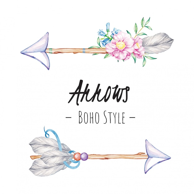 Illustration aquarelle de flèches boho