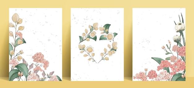 Illustration aquarelle fleur, feuille et ensemble naturel dessiné à la main sauvage