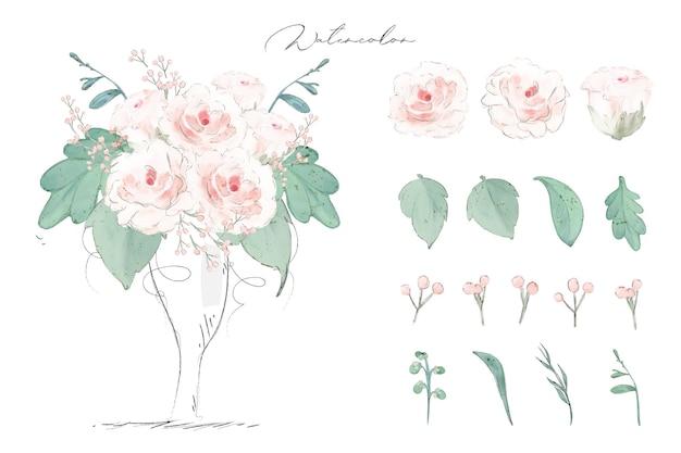Illustration aquarelle fleur de rose, feuille et ensemble naturel dessiné à la main sauvage