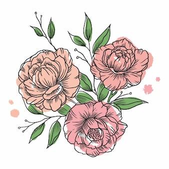 Illustration aquarelle fleurs pivoines