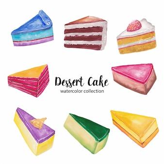 Illustration aquarelle de gâteau dessert