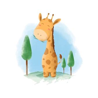 Illustration aquarelle de girafe animal mignon