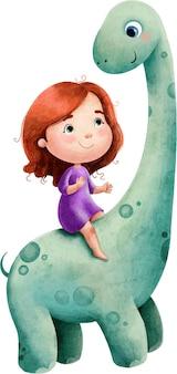 Illustration aquarelle d'un grand dinosaure vert avec un long cou et une fille aux cheveux rouges.