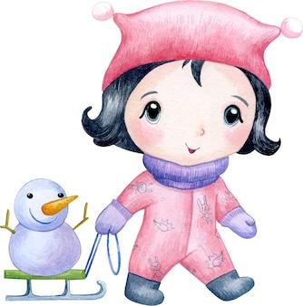 Illustration aquarelle d'une jolie petite fille dans une veste rose et un bonhomme de neige sur un traîneau