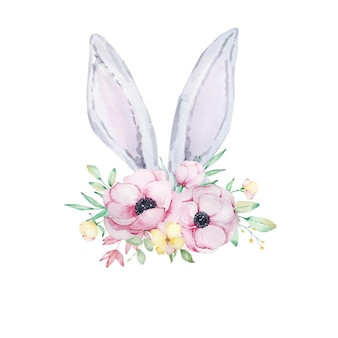 Illustration aquarelle de jolies oreilles de lapin de pâques gris et blanc avec un bouquet de fleurs d'anémones