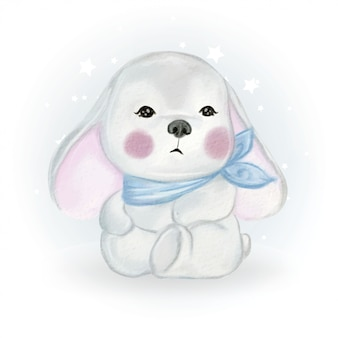 Illustration aquarelle de lapin bébé mignon