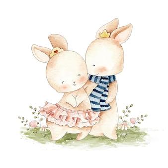 Illustration aquarelle de lapin mignon couple