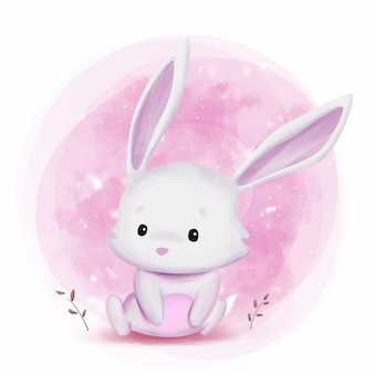 Illustration aquarelle de lapin mignon