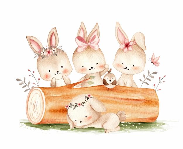 Illustration aquarelle de lapins mignons