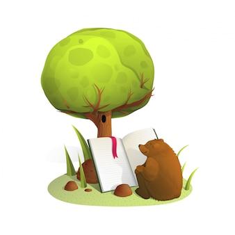 Illustration aquarelle de livre de lecture ours