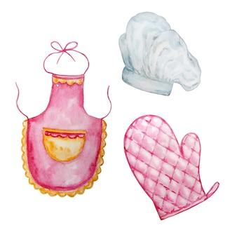Illustration aquarelle manique de cuisine rose et tablier rose et bonnet pour le cuisinier