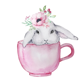 Illustration aquarelle d'un mignon lapin de pâques gris et blanc