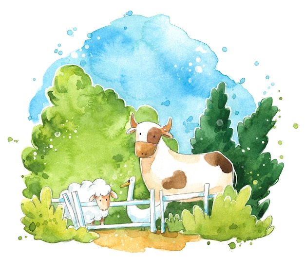 Illustration aquarelle de mignons animaux de la ferme