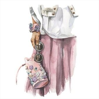 Illustration aquarelle de mode de jeune femme en tenue tendance élégante. croquis dessiné main du look hipster féminin. style de rue urbain.