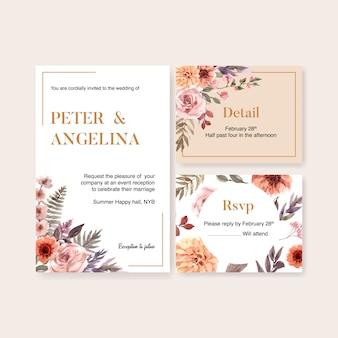 Illustration aquarelle de modèle de carte de mariage floral séché