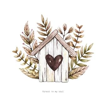 Illustration aquarelle avec nichoir en bois et objets floraux.