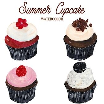 Illustration d'aquarelle de nourriture de petit gâteau d'été