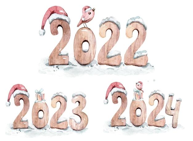Illustration aquarelle nouvel an deux mille vingt-deux