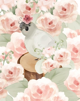 Illustration aquarelle oiseaux, champignons, fleurs, feuilles et ensemble naturel dessiné à la main sauvage