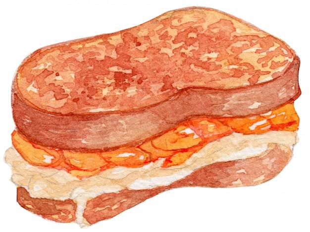 Illustration d'aquarelle de pain grillé français