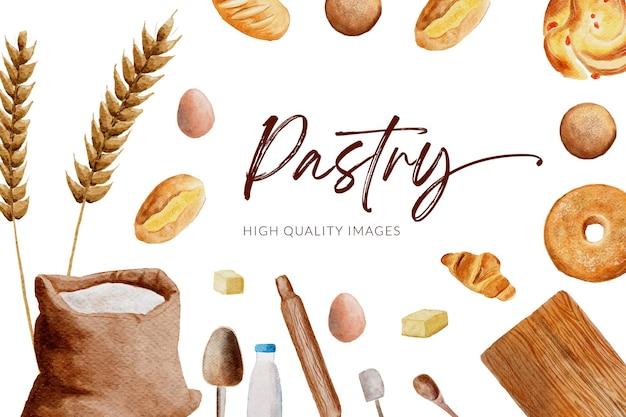 Illustration aquarelle de pâtisserie