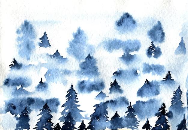 Illustration aquarelle de paysage de forêt épinette brumeuse bleue