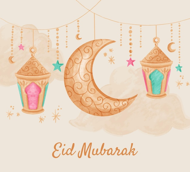 Illustration aquarelle peinte à la main eid al-fitr
