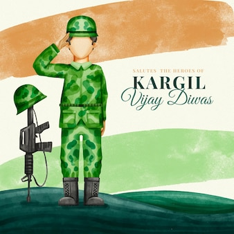 Illustration aquarelle peinte à la main de kargil vijay diwas