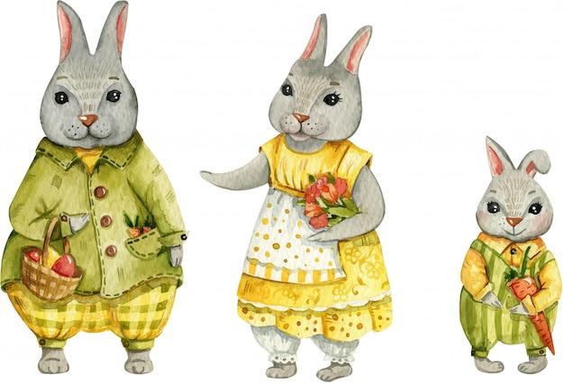 Illustration aquarelle peinte à la main d'un lapin de pâques.