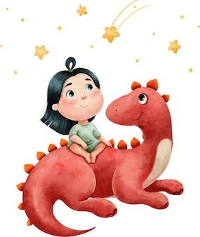 Illustration aquarelle d'une petite fille est amie avec un gros dinosaure rouge.