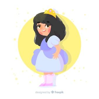 Illustration aquarelle princesse brune