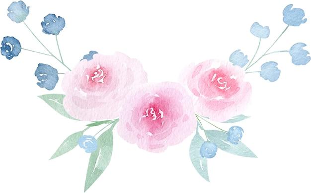Illustration aquarelle printemps fleurs roses