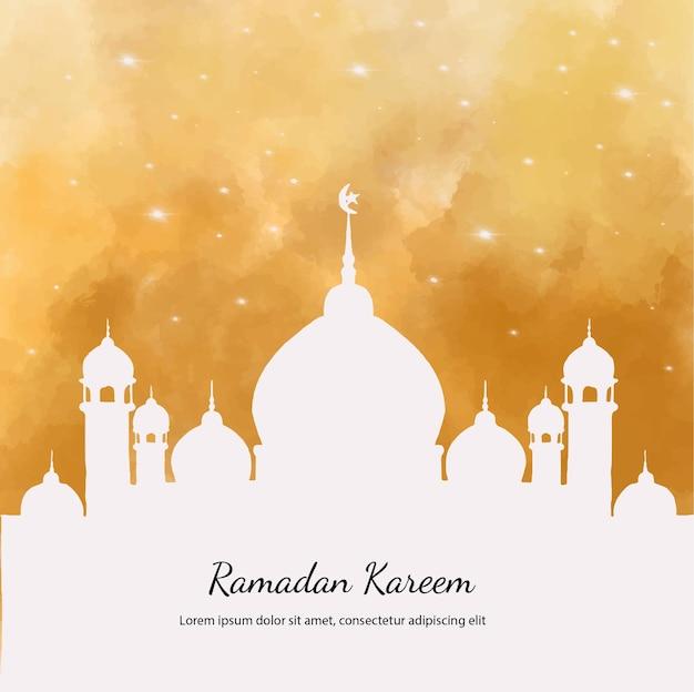 Illustration aquarelle ramadan kareem avec mosquée