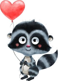 Illustration aquarelle d'un raton laveur romantique mignon avec un ballon coeur rouge