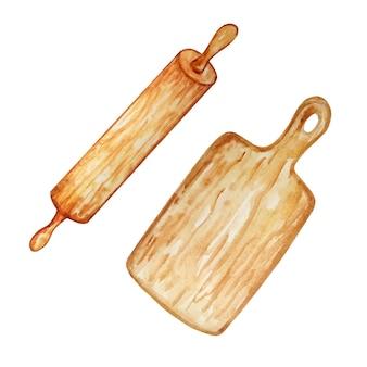 Illustration aquarelle rouleau à pâtisserie en bois et planche de cuisine