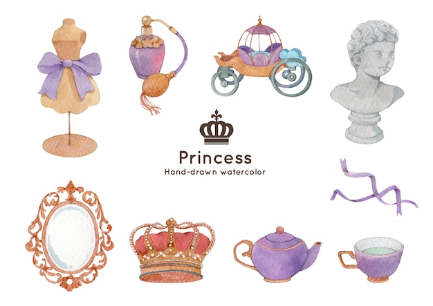 Illustration aquarelle de thème princesse