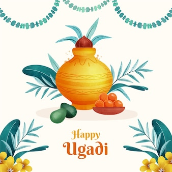 Illustration aquarelle ugadi