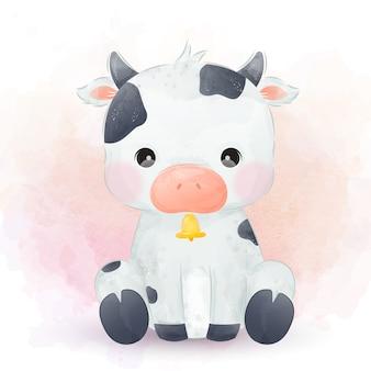 Illustration aquarelle de vache bébé mignon.