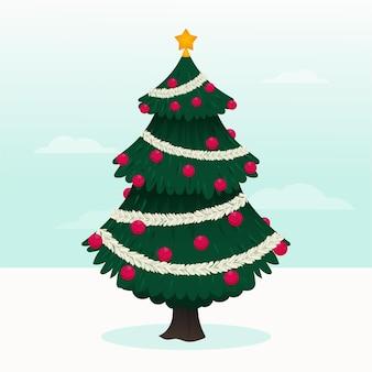 Illustration d'arbre de noël 2d avec globes et étoile