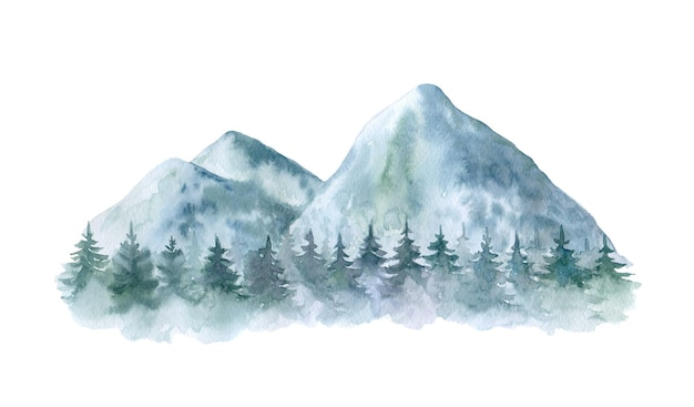Illustration d'arbres forestiers aquarelle montagnes
