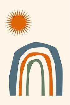 Illustration arc-en-ciel minimaliste de boho arc-en-ciel