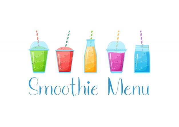Illustration d'arc-en-ciel de smoothie aux fruits naturels