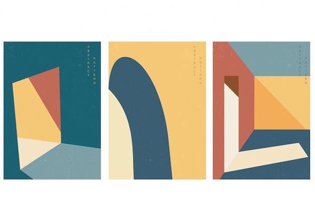 Illustration d'architecture avec vecteur de style géométrique.