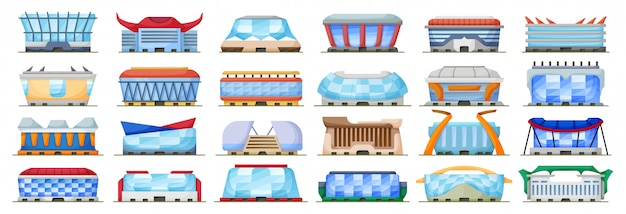 Illustration de l'arène sportive sur fond blanc. stade d'icône de dessin animé isolé. jeu de dessin animé icône sport arena.