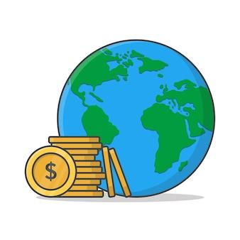Illustration de l'argent mondial. icône plate monde et argent
