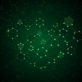 Illustration de l'arrière-plan brillant de molécule adn abstrait