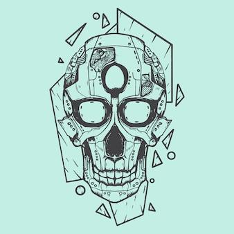 Illustration d'art de crâne robot pochoir noir et blanc
